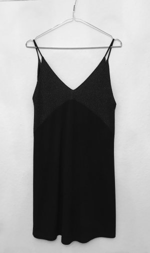 TRF Babydoll-jurk zwart-zilver Viscose
