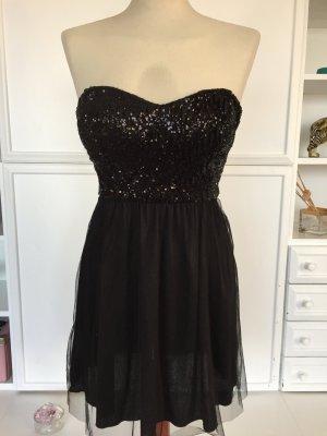 Cocktailkleid Partykleid Kleid JANE NORMAN Gr. 34 / XS Schwarz Pailletten