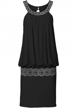 Cocktailkleid, schwarz, 40, mit Schmucksteinen in schwarz und silber