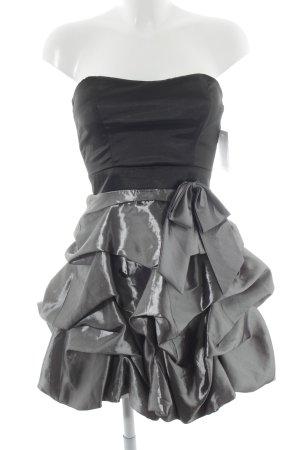 Cocktailkleid silberfarben-schwarz Glanz-Optik