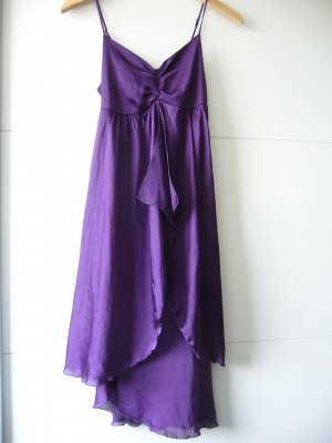 Cocktailkleid Wasserfall violett lila Spaghettiträger XS 34 Colours of the World