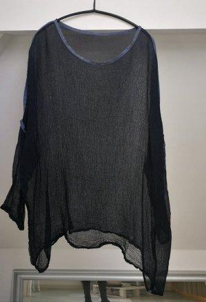 Oversized shirt donkerblauw-leigrijs Zijde
