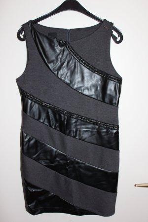 Coconuda Kleid grau schwarz Lederimtiat Gr. 38 / 40 Damen Wie NEU!