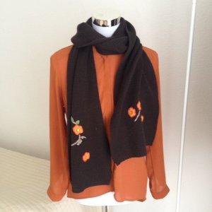 CODELLO Damen Schal Strickschal Braun Blumen 30 % Wolle Topzustand