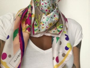 Codello Foulard en soie multicolore