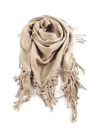 Codello Sjaal met franjes wolwit kabel steek casual uitstraling
