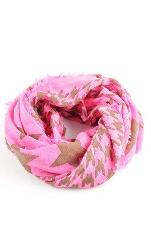 Codello Fransenschal pink-braun grafisches Muster schlichter Stil