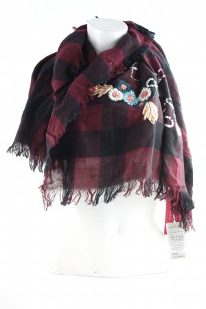 Codello Fringed Scarf black-bordeaux check pattern casual look