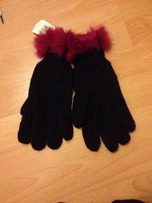 Codello Handschuhe Fell Pelz pink schwarz mit Etikett