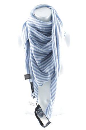 Codello Sjaal van kasjmier wit-azuur gestreept patroon casual uitstraling
