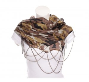 Codello Loop Schal Camouflage Military Style mit Ketten Seide Punk Grunge Visual Kei