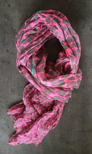 Codello-Schal in pink mit grauem Herzmuster