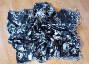 Codello Schal mit schwarz weiß gemustert mit Fransen