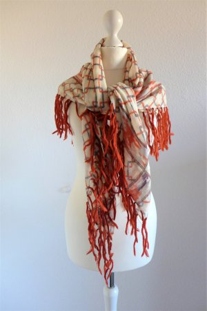 Codello Schal Tuch Wolle creme orange Fransen Boho Hippie