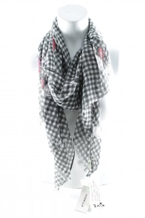 Codello Zomersjaal wit-donkergrijs geruite print casual uitstraling