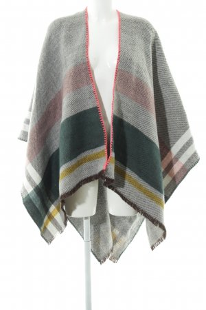 Codello Knitted Poncho light grey-black zigzag pattern casual look