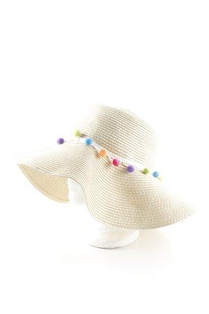 Codello Cappello di paglia color carne motivo trapuntato stile classico