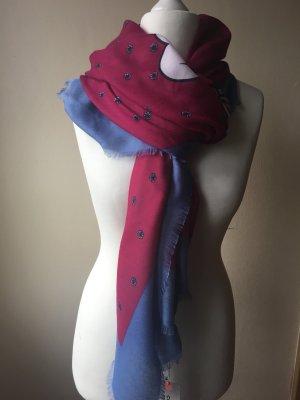 Codello Châle rouge framboise-bleu acier