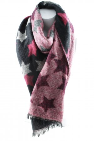 Codello Bufanda de lana negro-rojo oscuro Patrón de estrellas look Street-Style