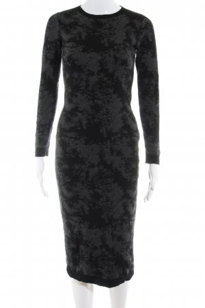 Coercion Vestido de tubo negro-gris oscuro estampado con diseño abstracto