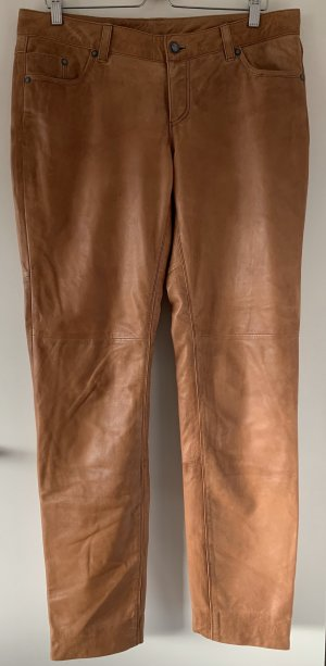 Leather Trousers cognac-coloured-light brown leather