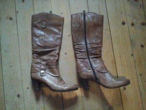 Cognac Braune Stiefel von Tamaris Leder Gr. 40