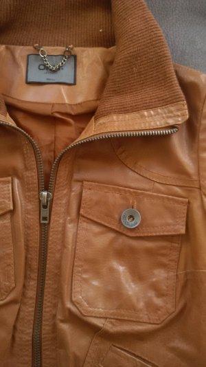 Cognac-farbende Only-Jacke aus Echtleder