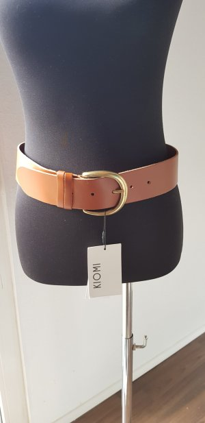 Kiomi Leather Belt gold-colored-cognac-coloured leather