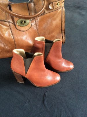 Zara Booties brown-brown red leather