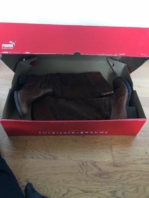 Cognacfarbene / braune Echtleder Stiefel von Puma