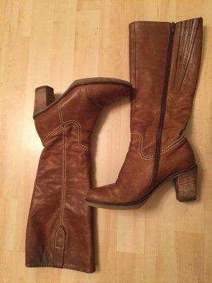Cognacfarbene Garbor Stiefel, Größe 38
