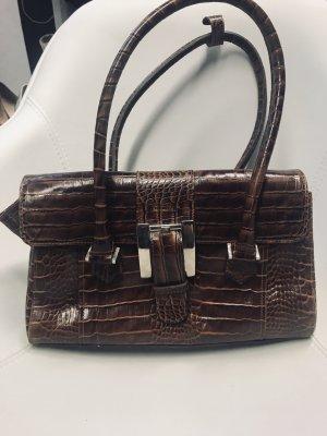 Cognacfarbene Handtasche mit Kroko Muster