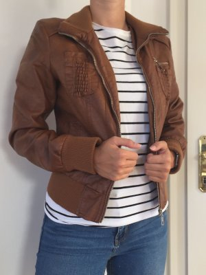 Faux Leather Jacket cognac-coloured-silver-colored