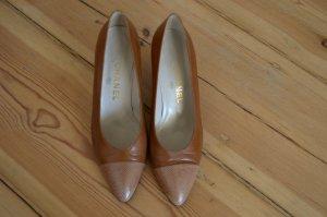 Cognacfarbene Leder Pumps Schuhe