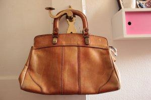 Cognacfarbene Vintage-Lederhandtasche