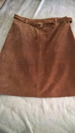 Leather Skirt cognac-coloured leather