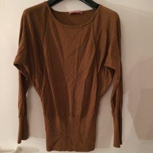 Cognacfarbener Pullover aus Wolle-Seide