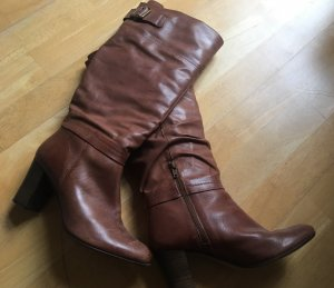Jackboots cognac-coloured leather