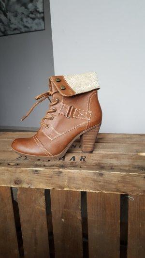 Cognagfarbene Boots S.Oliver Gr 37 Nagelneu Stiefeletten Stiefel High Heels Labelboots Highheels