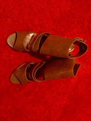100 Sandalias de tacón alto naranja oscuro Cuero