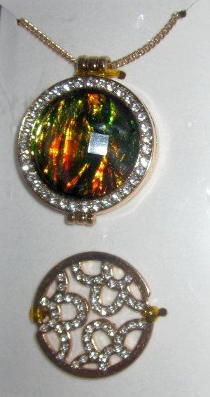 Coin Kette mit Coins Mosaik goldfarben wechselbare Coins Metallic Optik grün gelb orange bunt Glitter Gliederkette lang Strass Steine NEU
