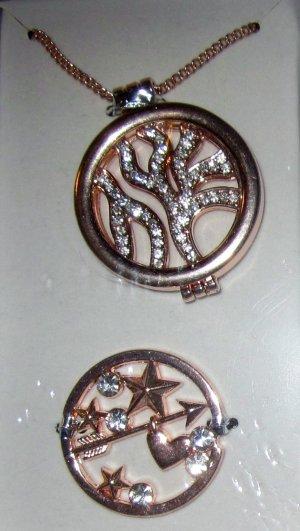 Coin Kette mit Coins Mosaik rosegold farben wechsebare Coins Love Motiv Gliederkette lang Strass Steine NEU