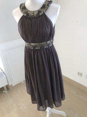 Chiffon jurk lichtbruin-grijs-bruin