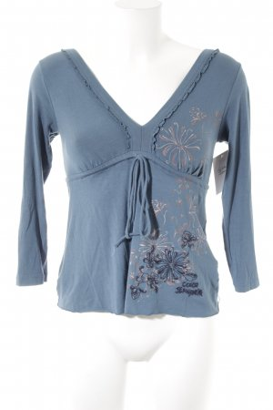 Colcci Langarm-Bluse petrol florales Muster Casual-Look