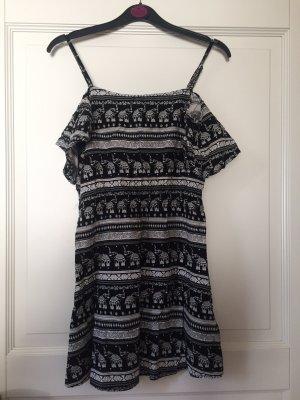 H&M Off-The-Shoulder Dress white-black