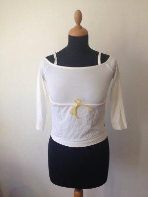 Cold shoulder schulterfrei weiß gelbe Kordel anschmiegsam elastisch und kühlend
