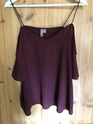 Cold-Shoulder-Shirt Bordeaux/Pflaume Gr.38