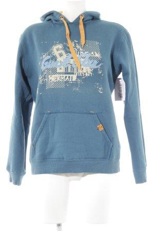 Colins Kapuzensweatshirt petrol Motivdruck Street-Fashion-Look