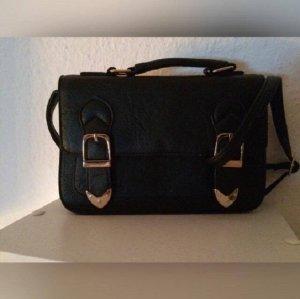 Collage Tasche America Style Blogger schwarz gold Schnallen Umhängetasche Clutch