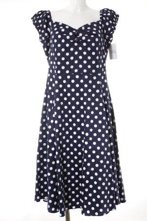 Collectif A-Linien Kleid dunkelblau-wollweiß Punktemuster Rockabilly-Look